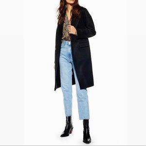 TOPSHOP Oversized Black Lily Knit Back Midi Coat